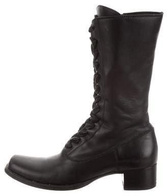 Miu Miu Leather Round-Toe Boots
