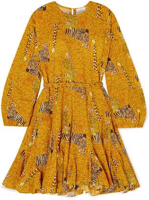 Rhode Resort Ella Pleated Printed Cotton-poplin Mini Dress - Mustard