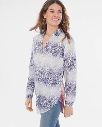 Chico's Chicos Faded Medallion Mixed-Print Shirt