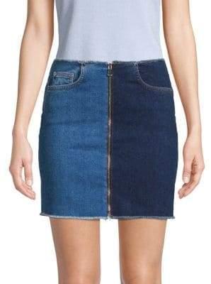 Cotton Citizen Mercer Two-Tone Zip Mini Skirt