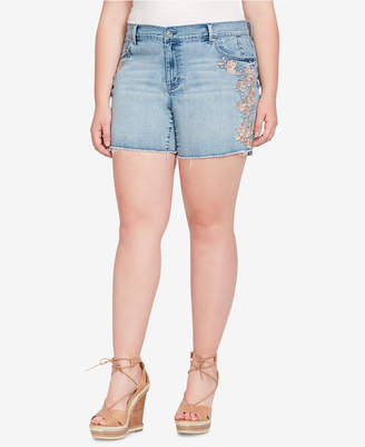Jessica Simpson Trendy Plus Size Embroidered Denim Shorts