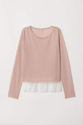 H&M Lace-hem Top - Pink