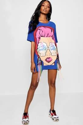 boohoo Face Motif T-Shirt Dress