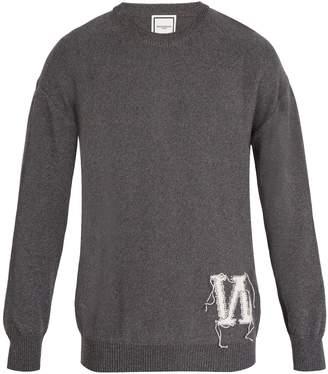 Wooyoungmi Crew-neck reverse-intarsia logo cotton sweater