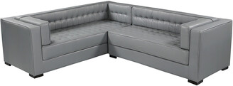 Chic Home Lorenzo Grey Leather Left Sectional