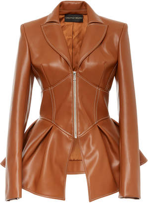 Christian Siriano Faux Leather Corset Jacket
