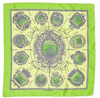 Hermes Les Armes De Paris Silk Pocket Square