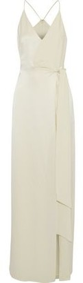 Halston Split-Front Hammered-Satin And Crepe De Chine Gown