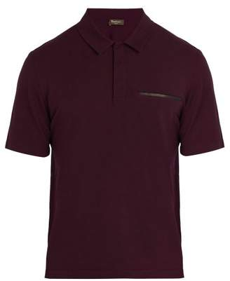 Berluti - Leather Trimmed Cotton Blend Polo Shirt - Mens - Burgundy