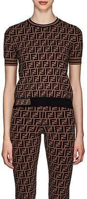 Fendi Women's Logo Knit T-Shirt - Brown
