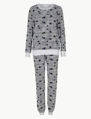 Marks and Spencer Star Print Long Sleeve Pyjama Set