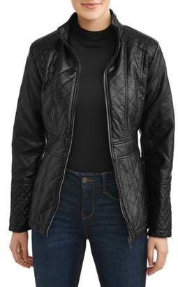 Unbranded Women's Faux Leather Diamond Quilted Zip-Front Jacket