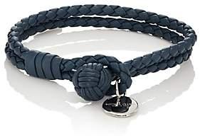 Bottega Veneta Men's Intrecciato Leather Double-Band Bracelet - Blue