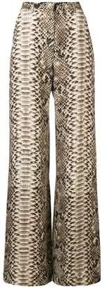 Elie Saab snakeskin print wide leg trousers