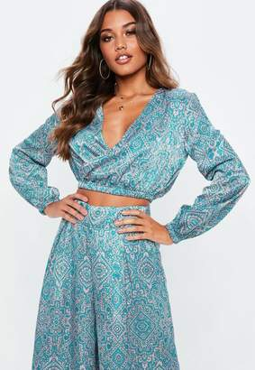 Missguided Blue Paisley Wrap Over Crop Top