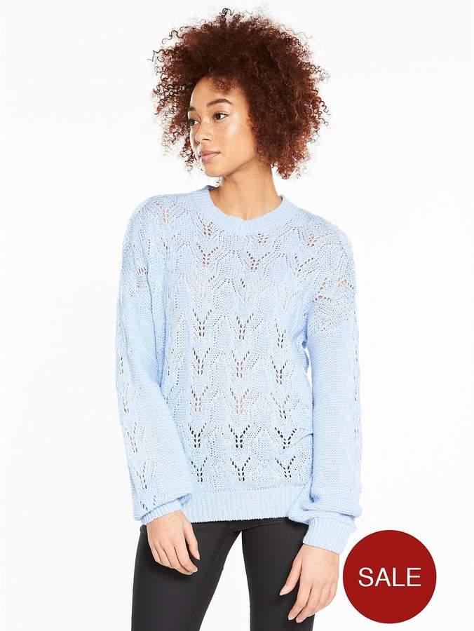 Pointelle Blouson Sleeve Jumper - Soft Blue