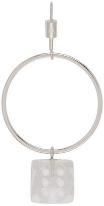 Maison Margiela Silver Single Dice Hoop Earring