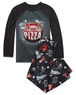 Children's Place The Long Sleeve Pizza Universe Pajama 2 Piece Pant Set (Little Boys & Big Boys)