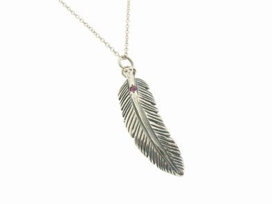 Oxidized Feather with Pink Sapphire on Chain
