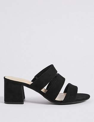 Marks and Spencer Wide Fit Block Heel Multi Strap Mule Sandals