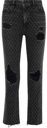 Alexander Wang Cult Net Distressed Printed High-rise Straight-leg Jeans