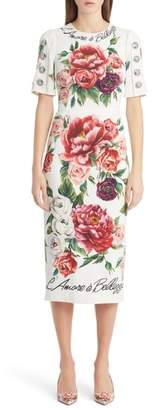 Dolce & Gabbana Jewel Button Peony Print Cady Dress