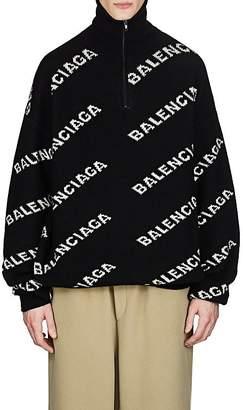 Balenciaga Men's Logo Jacquard Wool-Blend Oversized Sweater
