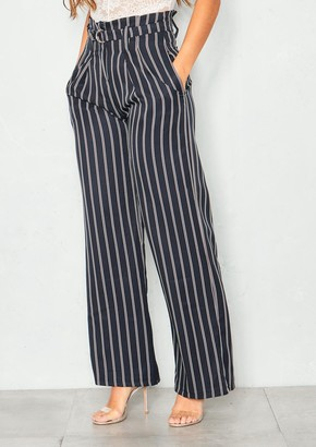 8720a0cef1b1 Missy Empire Missyempire Adrianna Black Pinstripe High Waist Wide Leg  Trousers