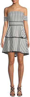 Endless Rose Cold-Shoulder Stripe Dress