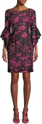 Aidan Mattox Boat-Neck 3/4 Trumpet Sleeve Floral-Embroidered A-Line Cocktail Dress