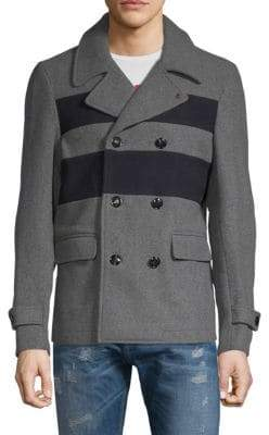 Scotch & Soda Stripe Front Double-Breasted Coat