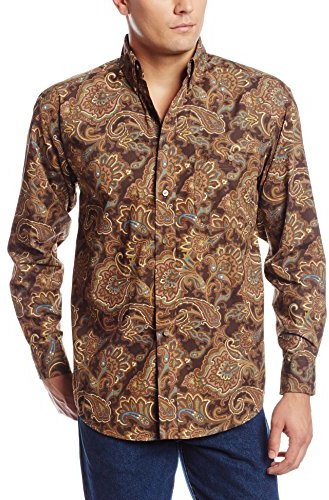 Wrangler Men's George Strait Collection One Pocket Brown Tan Blue Paisley Shirt