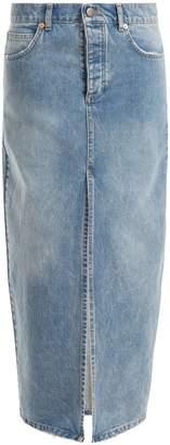 Raey Slit-front denim maxi pencil skirt