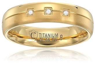 Crucible Jewelry Mens IP Titanium and 0.05 CTW Diamond Dual Finished Grooved Wedding Band (H-I