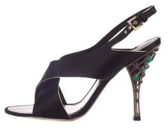 Louis Vuitton Satin Slingback Sandals