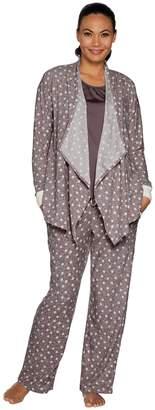 Carole Hochman Petite Stretch Waffle Fleece 3-Piece Pajama Set