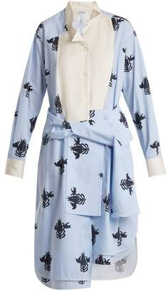 Loewe Floral Print Tie Waist Shirtdress - Womens - Blue Multi