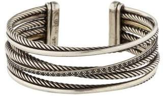 David Yurman Diamond Crossover Four Row Cuff