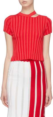 PH5 Cutout collar rib knit cropped top