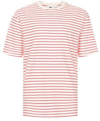 Off White And Red Stripe Oversized T-Shirt $30 thestylecure.com