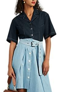 Colovos Women's Cotton Chambray Button-Front Shirt - Blue