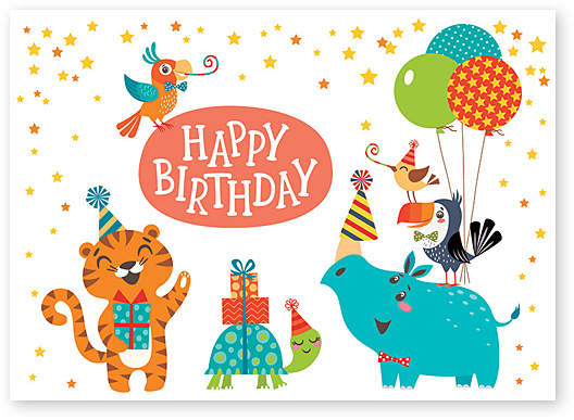 Animal Party Birthday Card - Set of Six