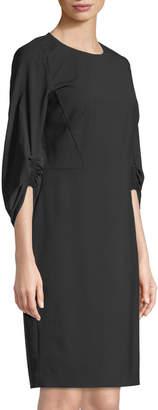 Lafayette 148 New York Erland Ruched-Sleeve Sheath Dress, Black