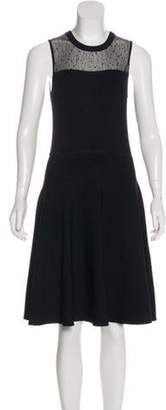 Jason Wu Mesh-Accented Knit Dress Black Mesh-Accented Knit Dress