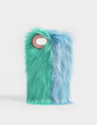 Charlotte Simone Fluff Phone Case in Mint Green and Pastel Blue Acrylic