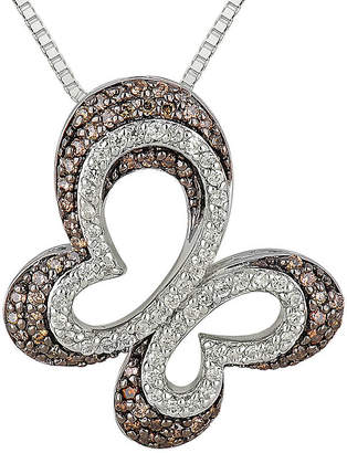 FINE JEWELRY 1/2 CT. T.W. Champagne & White Diamond 10K White Gold Butterfly Pendant Necklace