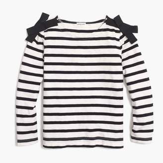 J.Crew Girls' long-sleeve bow-shoulder striped T-shirt
