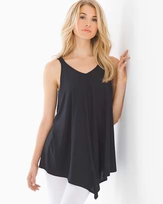 Bliss Knit Sleeveless Scarf Hem Tunic Black