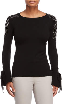 Vila Milano Studded Tie-Sleeve Top