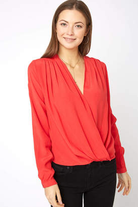 Astr Long Sleeve Surplice Top
